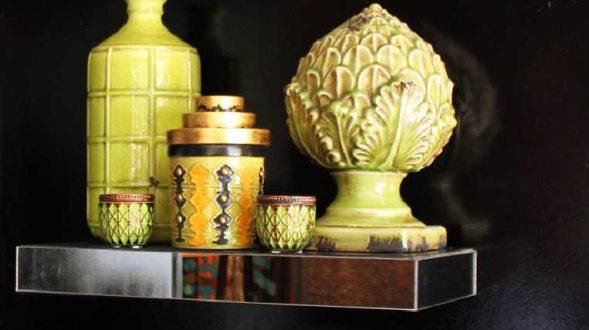 Adornos en cerámica, en degrade de verdes con detalles en cobre, grises y negro 4