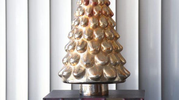 Arbolito de vidrio dorado y plata. 34