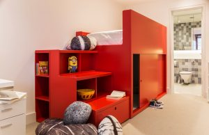 After - 4F - Bedroom 2 - Bespoke Red Bed with hiding place - LLI Design (Copy)