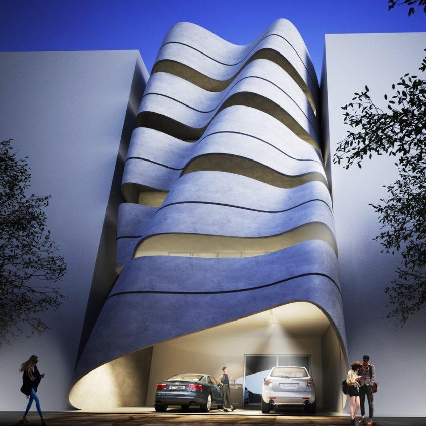 La fachada de hormigón funcional de Sway House 4
