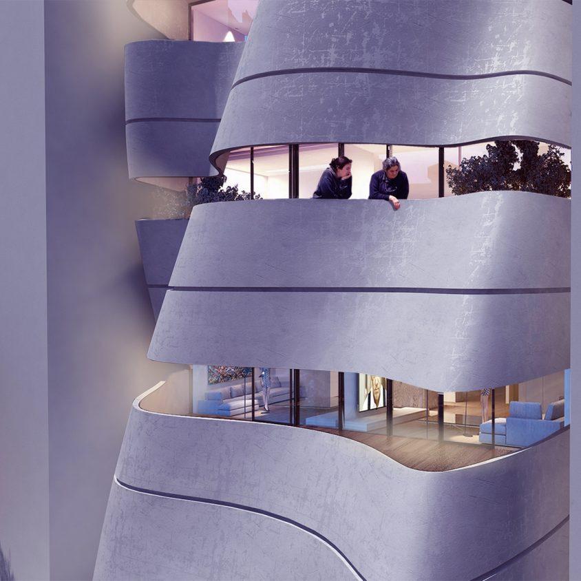 La fachada de hormigón funcional de Sway House 2