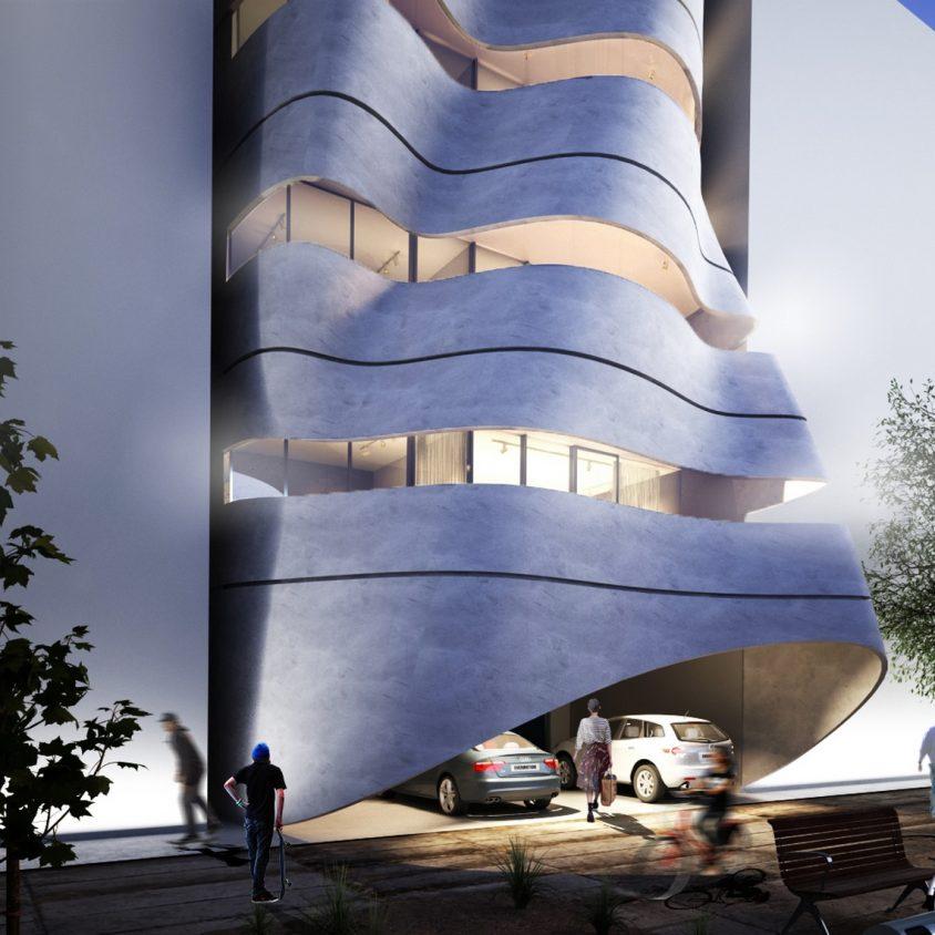 La fachada de hormigón funcional de Sway House 1