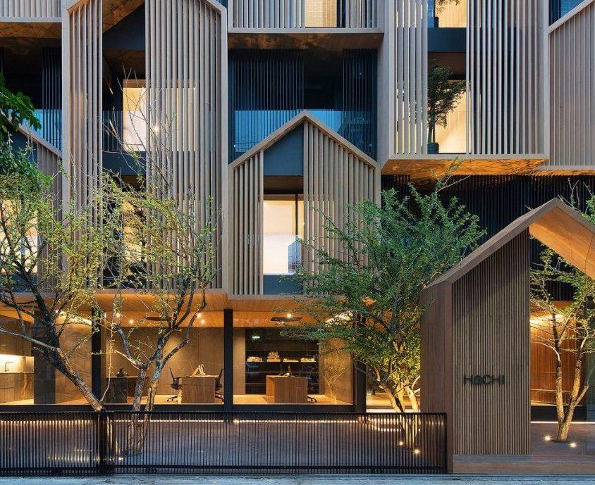 Un edificio con fachada de casa arquetípica 1