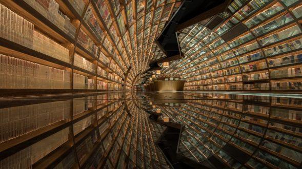 Una ilusión óptica fluye en la librería 16
