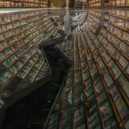 Una ilusión óptica fluye en la librería 13