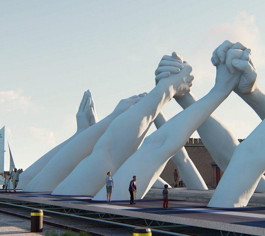 El escultural puente de manos de Lorenzo Quinn 2