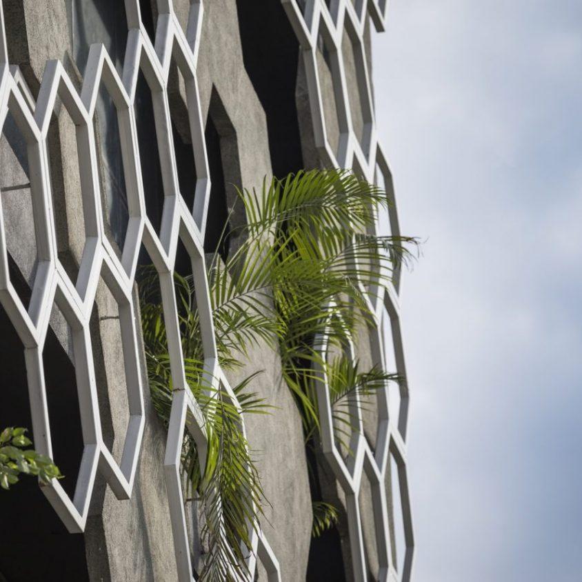 El diseño geométrico de la fachada de Hexalace 9