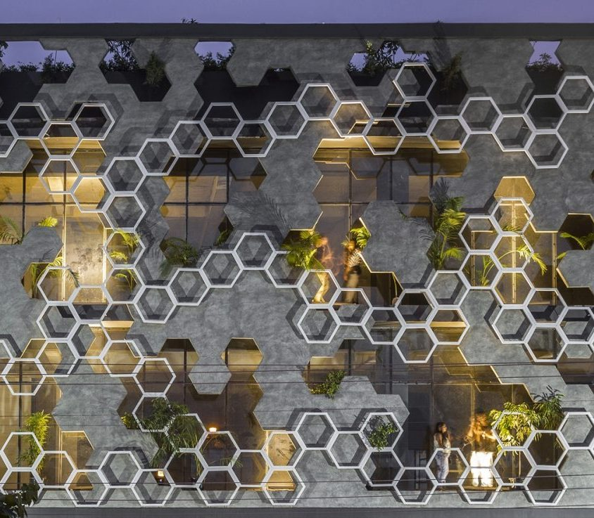 El diseño geométrico de la fachada de Hexalace 12