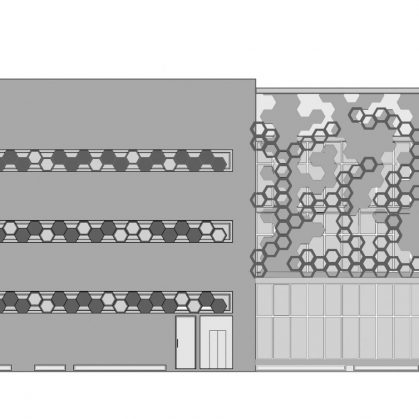 El diseño geométrico de la fachada de Hexalace 4