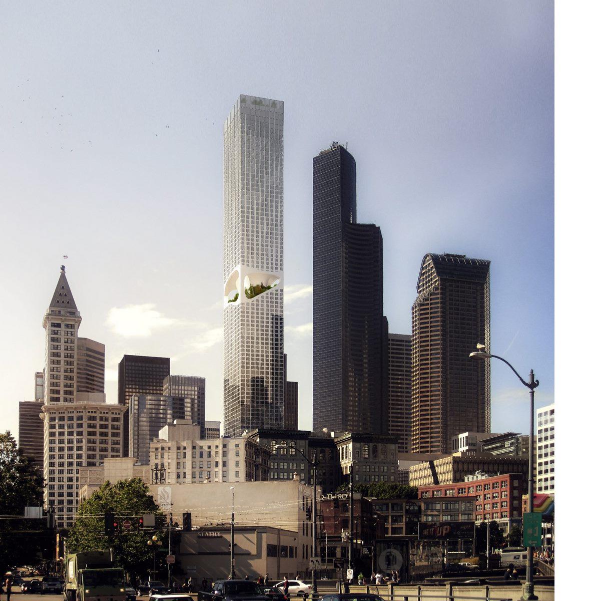 """Jardines suspendidos para disfruar de las vistas y la naturaleza en """"Seattle Tower"""" 7"""